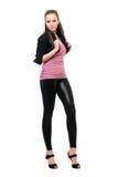 young woman in black leggings Stock Image