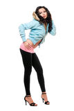 Sexy young woman in a black leggings Stock Photography
