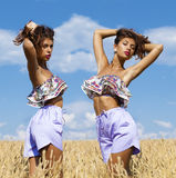 Sexy young woman in blue shorts in a wheat golden field Stock Image
