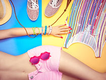 Overhead outfit fashion essentials set, background Royalty Free Stock Images