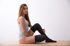 young woman in bodysuit royalty free stock photo