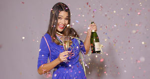 young woman celebrating New Year Stock Images