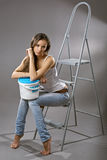 Sexy young woman construction worker Royalty Free Stock Image