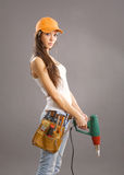 Sexy young woman construction worker Royalty Free Stock Photos