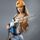 young woman construction worker Royalty Free Stock Image