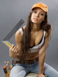 Sexy young woman construction worker Royalty Free Stock Photography
