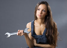 young woman construction worker Stock Photos