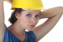 Sexy young woman construction worker contractor Royalty Free Stock Photo