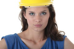 young woman construction worker contractor Stock Image
