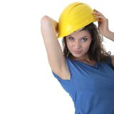 Sexy young woman construction worker contractor Royalty Free Stock Image