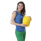 Sexy young woman construction worker contractor Royalty Free Stock Photos