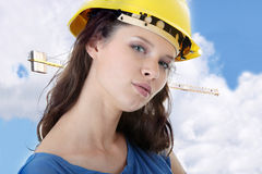 young woman construction worker contractor stock photo