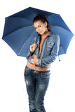 young woman in a denim suit Royalty Free Stock Image
