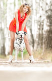 young woman with dog. Stock Images