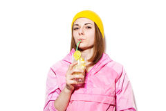 Sexy young woman drinking alcoholic cocktail Stock Photography