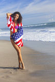 Sexy Young Woman Girl in American Flag on Beach Royalty Free Stock Photo