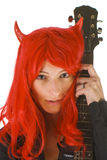 Sexy young woman with a guitar Royalty Free Stock Photos