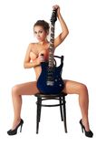 Sexy young woman with a guitar Stock Photography