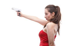 Sexy young woman - gun isolated on white Stock Images