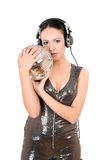 young woman in headphones Royalty Free Stock Photography