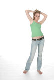 Sexy young woman in low rise jeans Royalty Free Stock Photo