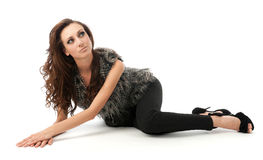young woman lying on the floor Royalty Free Stock Photo