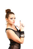Sexy young woman making gun gesture isolated on white background Stock Photo