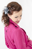 Sexy young woman in pink coat. Or jacket Royalty Free Stock Image