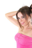 Sexy young woman in pink T-shirt Royalty Free Stock Photo