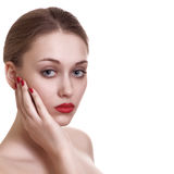 young woman with red bright manicure Stock Photo