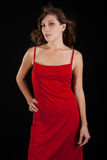 Sexy young woman in red dress. Royalty Free Stock Image