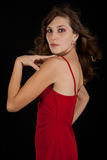Sexy young woman in red dress. Stock Photography