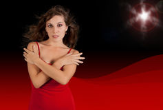 Sexy young woman in red dress. Stock Image