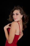 Sexy young woman in red dress. Royalty Free Stock Images