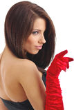 Sexy  young woman , red glove. Elegant young woman portrait on white background. red glove Stock Photography