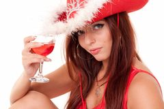 Sexy young woman with red wine Royalty Free Stock Images