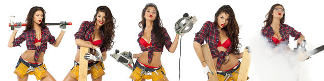 Sexy young woman shows construction tools Stock Image