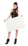 Sexy young woman with sign Stock Photography