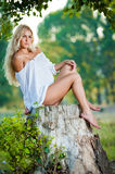 Sexy young woman sitting on stump in the forest Stock Photography