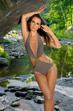 young woman with slim perfect figure posing in design swimsuit Royalty Free Stock Photography