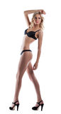 Sexy young woman stand in black lingerie Royalty Free Stock Image