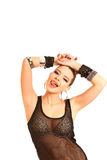Sexy young woman touching her head with hands and showing tongue Stock Photography