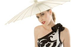 Sexy young woman with umbrella Royalty Free Stock Images