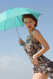 Sexy young woman with an umbrella Royalty Free Stock Image