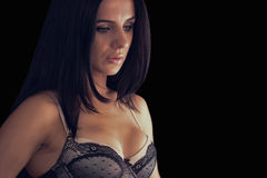 Sexy young woman wearing dark lingerie Royalty Free Stock Images