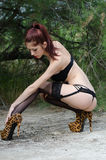 Sexy young woman wearing lingerie in wild landscape Stock Photography