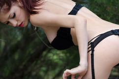 Sexy young woman wearing lingerie in wild landscape Royalty Free Stock Photos
