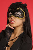 young woman wearing mask stock photos
