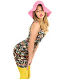 Sexy Young Woman Wearing Short Mini Dress with a Sun Hat Stock Images
