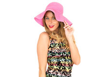 Sexy Young Woman Wearing Short Mini Dress with a Sun Hat Stock Photography